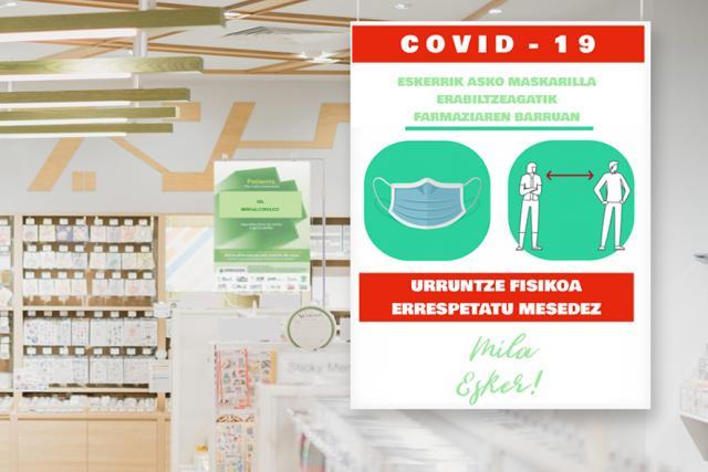 Cartel de material cartón pluma para farmacias