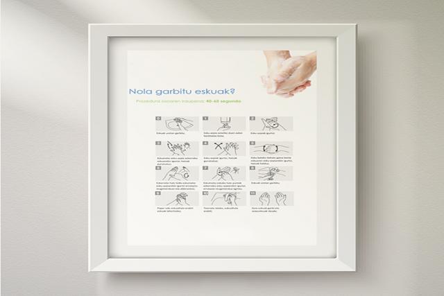 Lienzo con infografía para colocar en baños, cocinas y comedores.