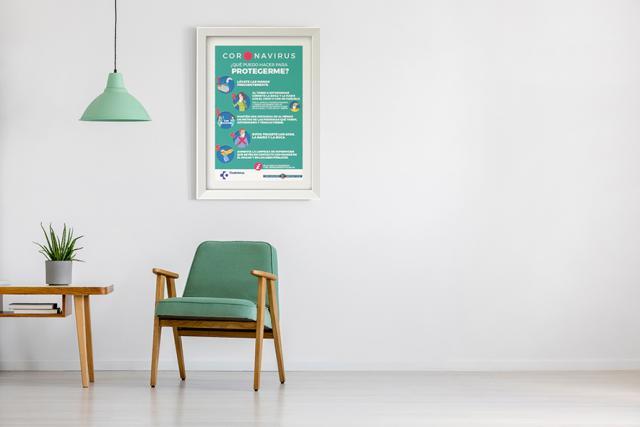 Cuadros informativos para los clientes en salas de espera.